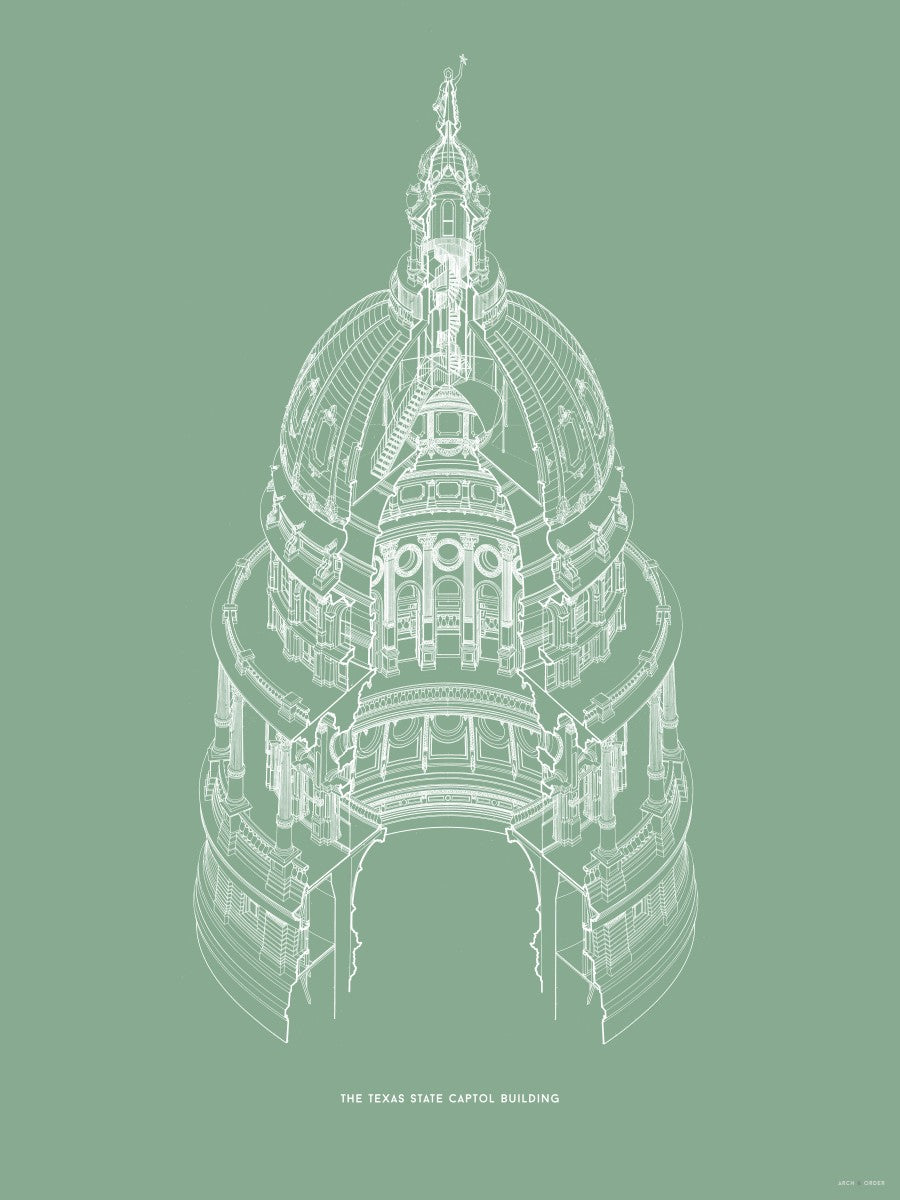 The Texas State Capitol Building - Dome Axonometric Cross Section - Green -