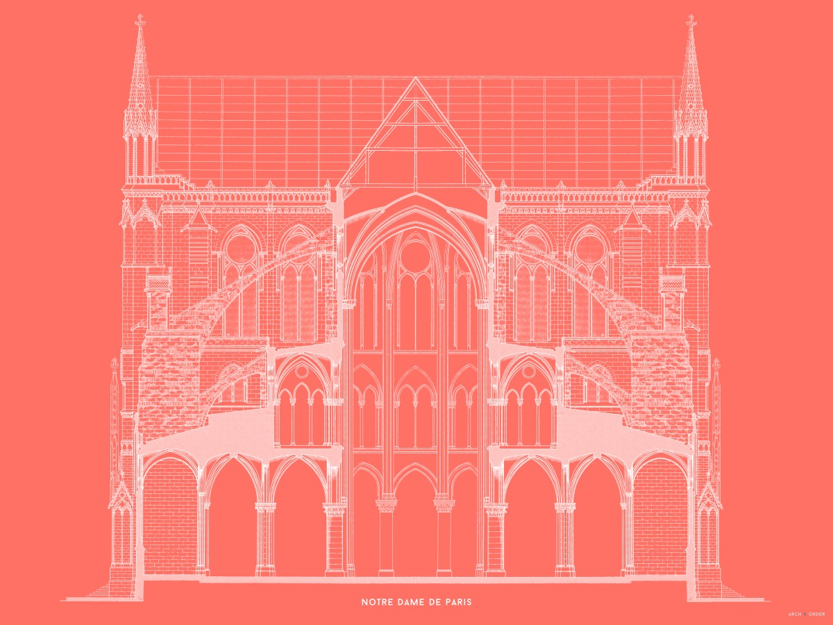 Notre Dame de Paris - Full Cross Section - Red -