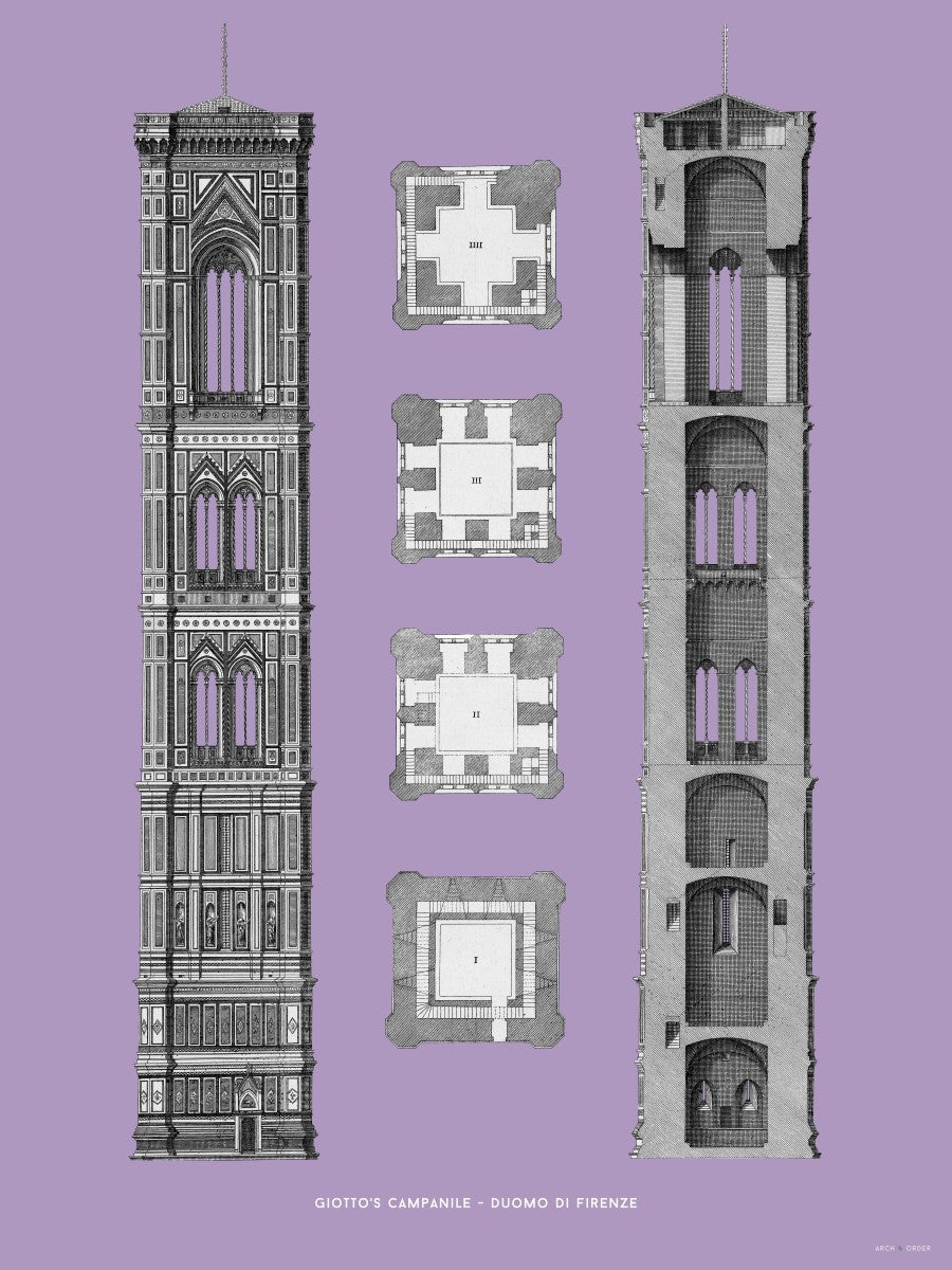 Giotto's Campanile - Cross Section - Lavender -