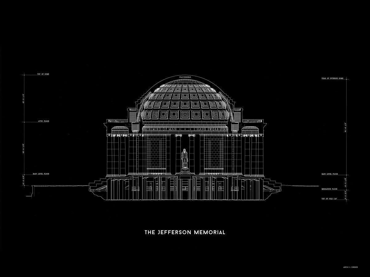The Jefferson Memorial North Elevation Cross Section - Black -