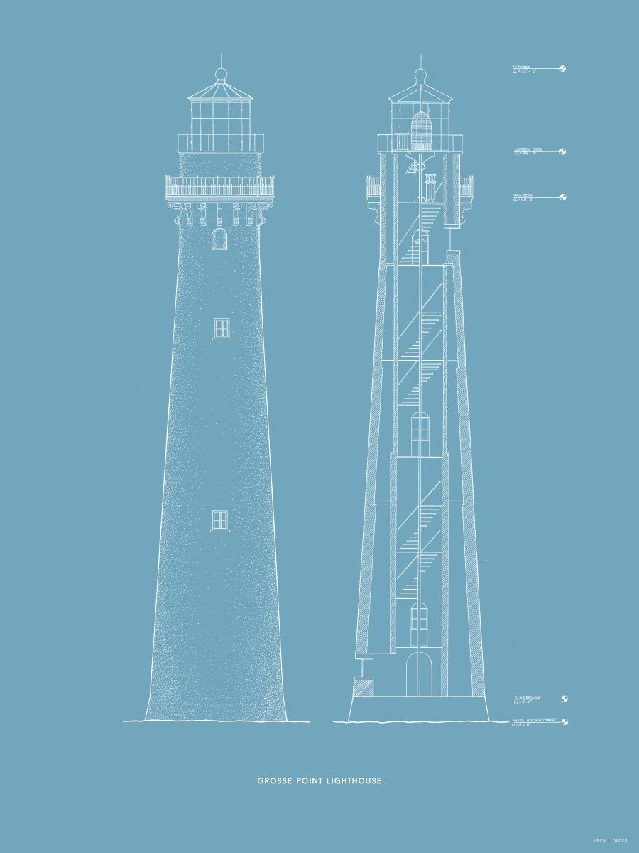 Grosse Point Lighthouse - East Elevation and Cross Section - Blue -