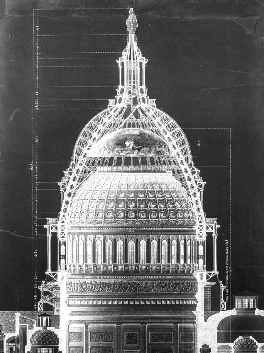 The U.S. Capitol Building - Dome Cross Section - Black -