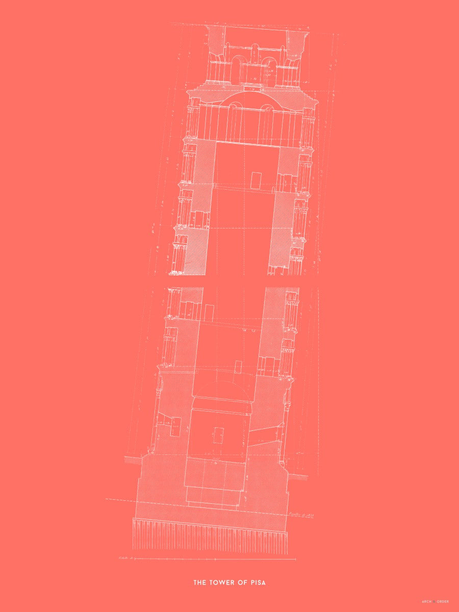 Tower of Pisa - Cross Section - Red -