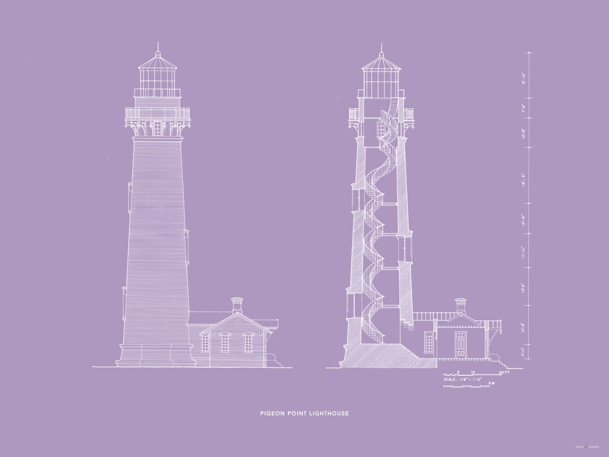 Pigeon Point Lighthouse - Southeast Elevation and Cross Section - Lavender -
