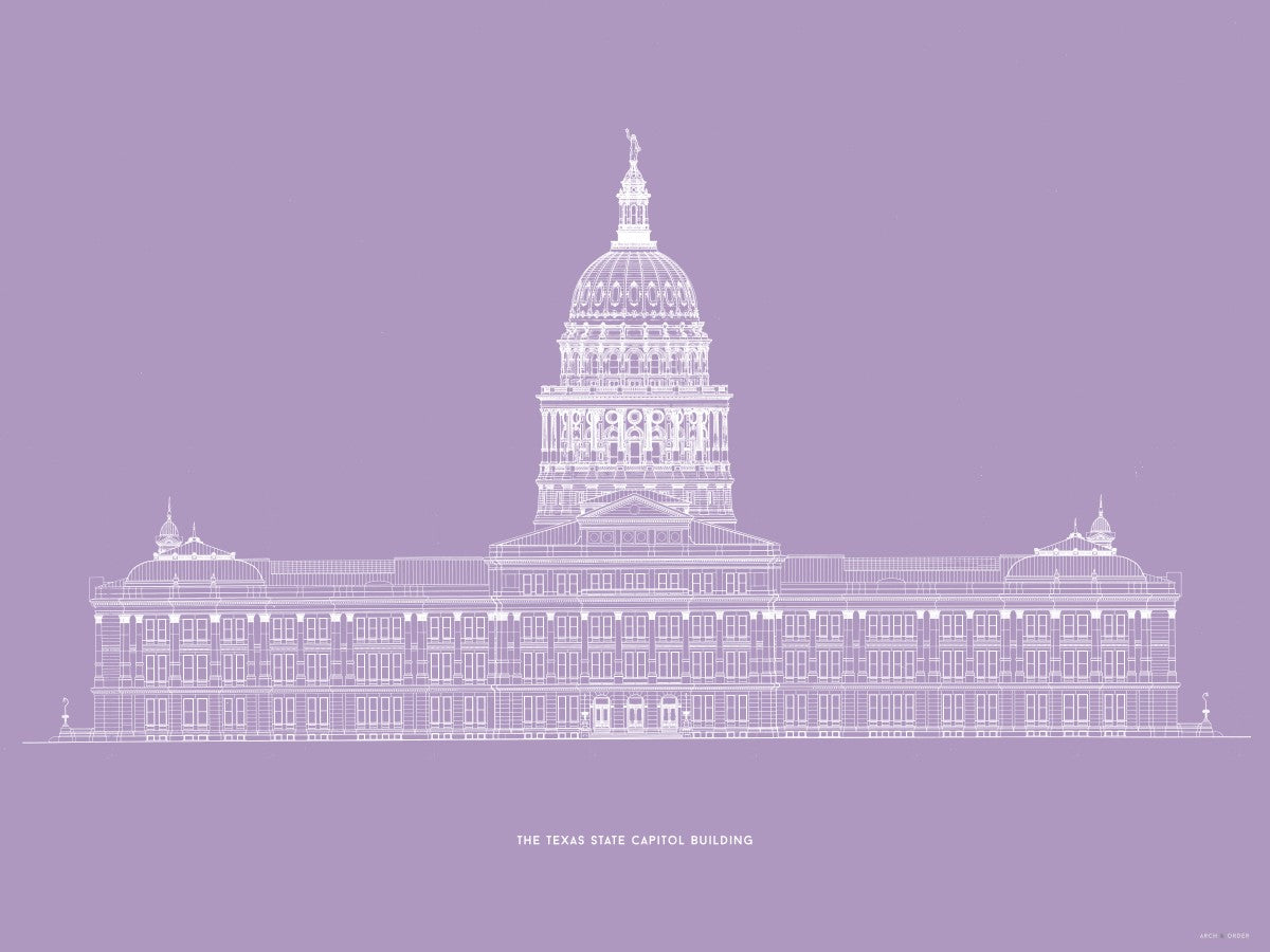 The Texas State Capitol Building - North Elevation - Lavender -