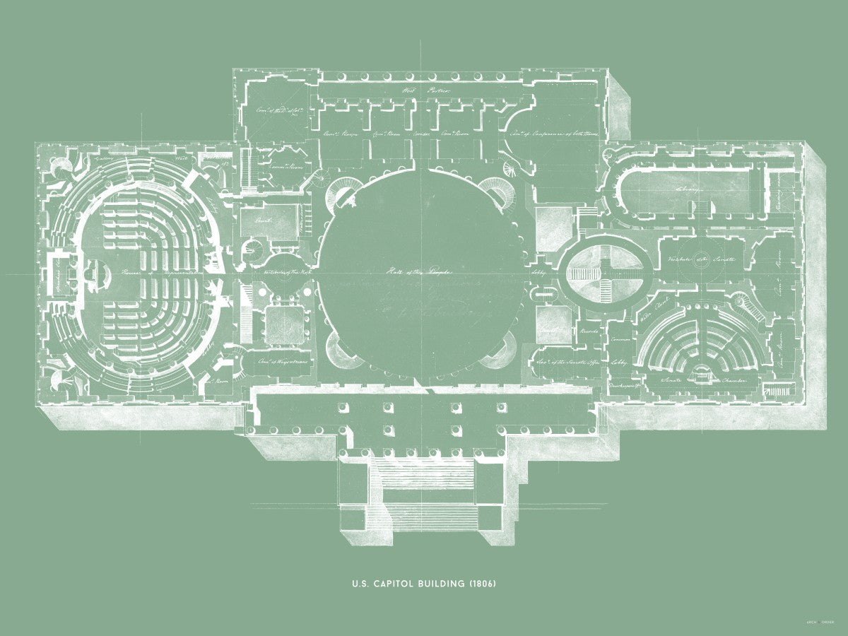The U.S. Capitol Building - 1806 Floorplan - Green -