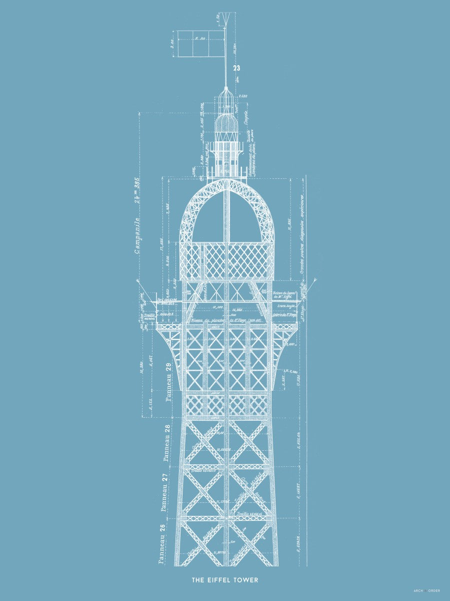The Eiffel Tower - Top Cross Section - Blue -
