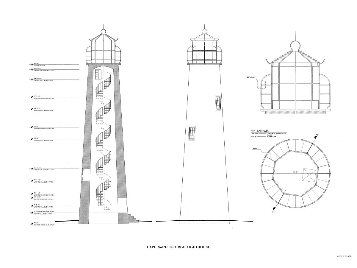 Cape Saint George Lighthouse - Southeast Elevation and Cross Section - White -