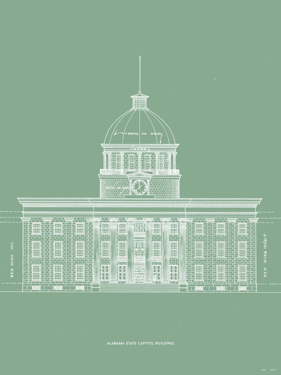 The Alabama State Capitol Building - West Elevation - Green -