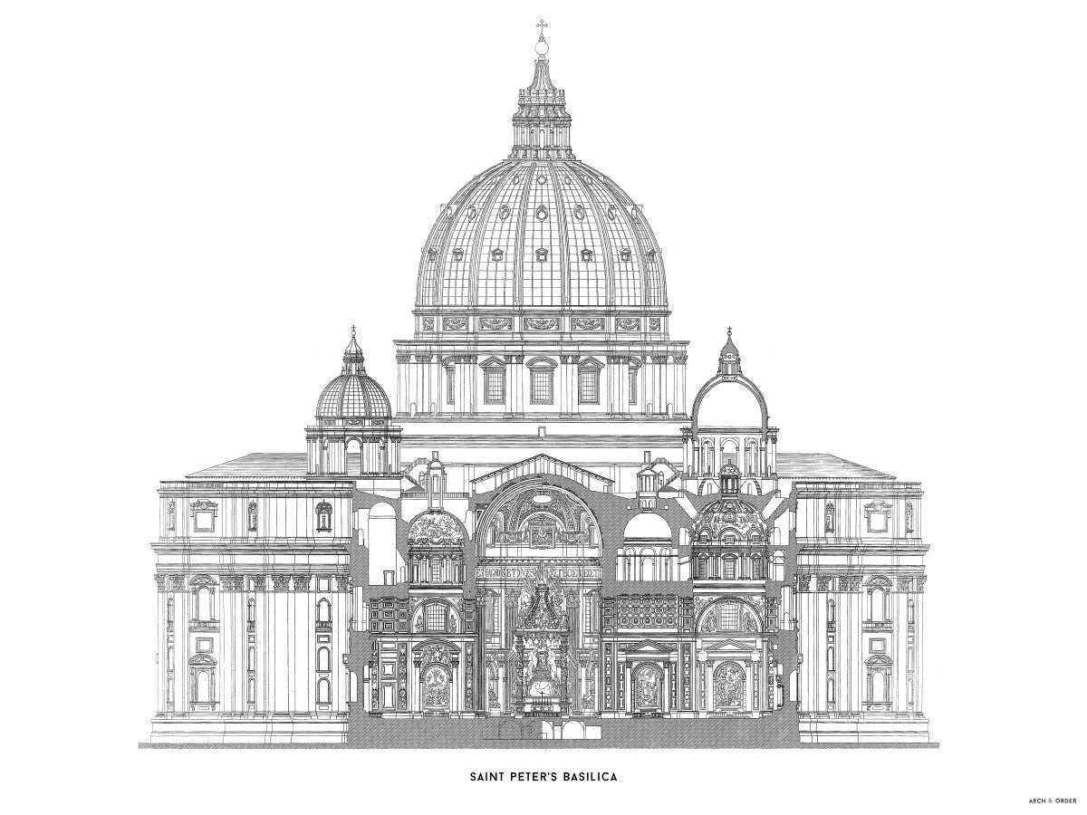 Saint Peter's Basilica - Primary Elevation Cross Section - White -