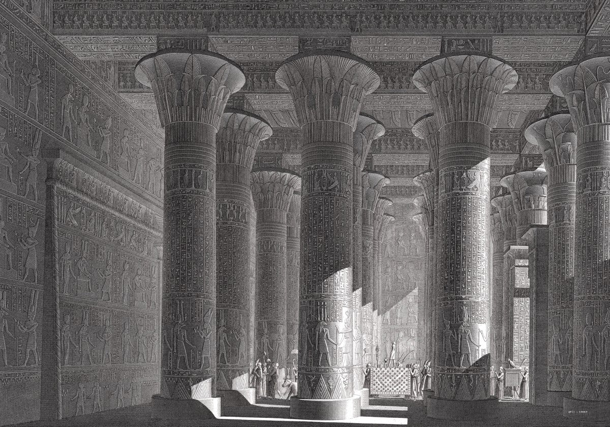 Temple of Khnum Portico Interior - Esna Egypt -