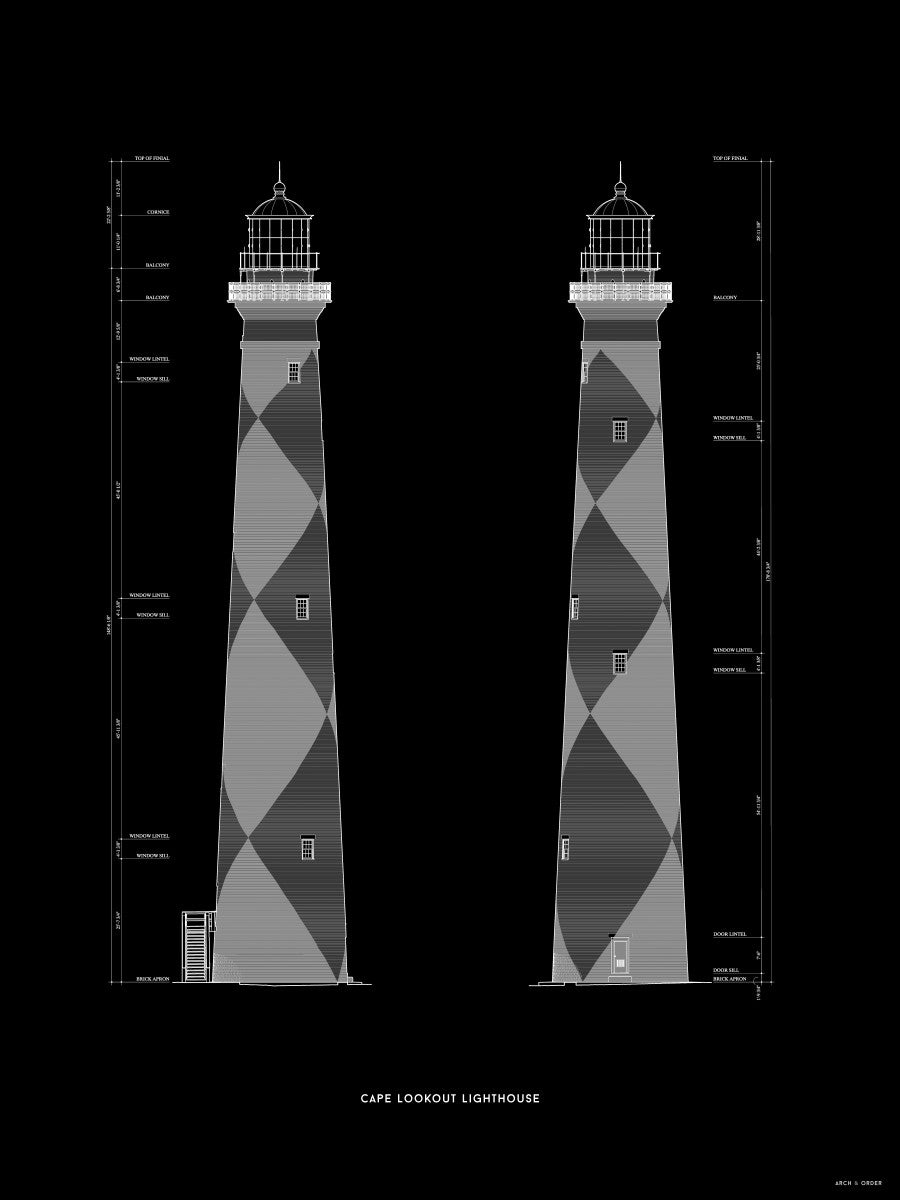 Cape Lookout Lighthouse - West and South Elevations - Black -
