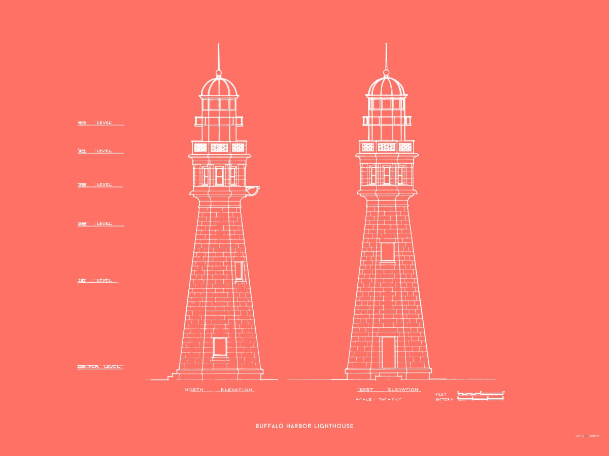 Buffalo Harbor Lighthouse - North and East Elevations - Red -