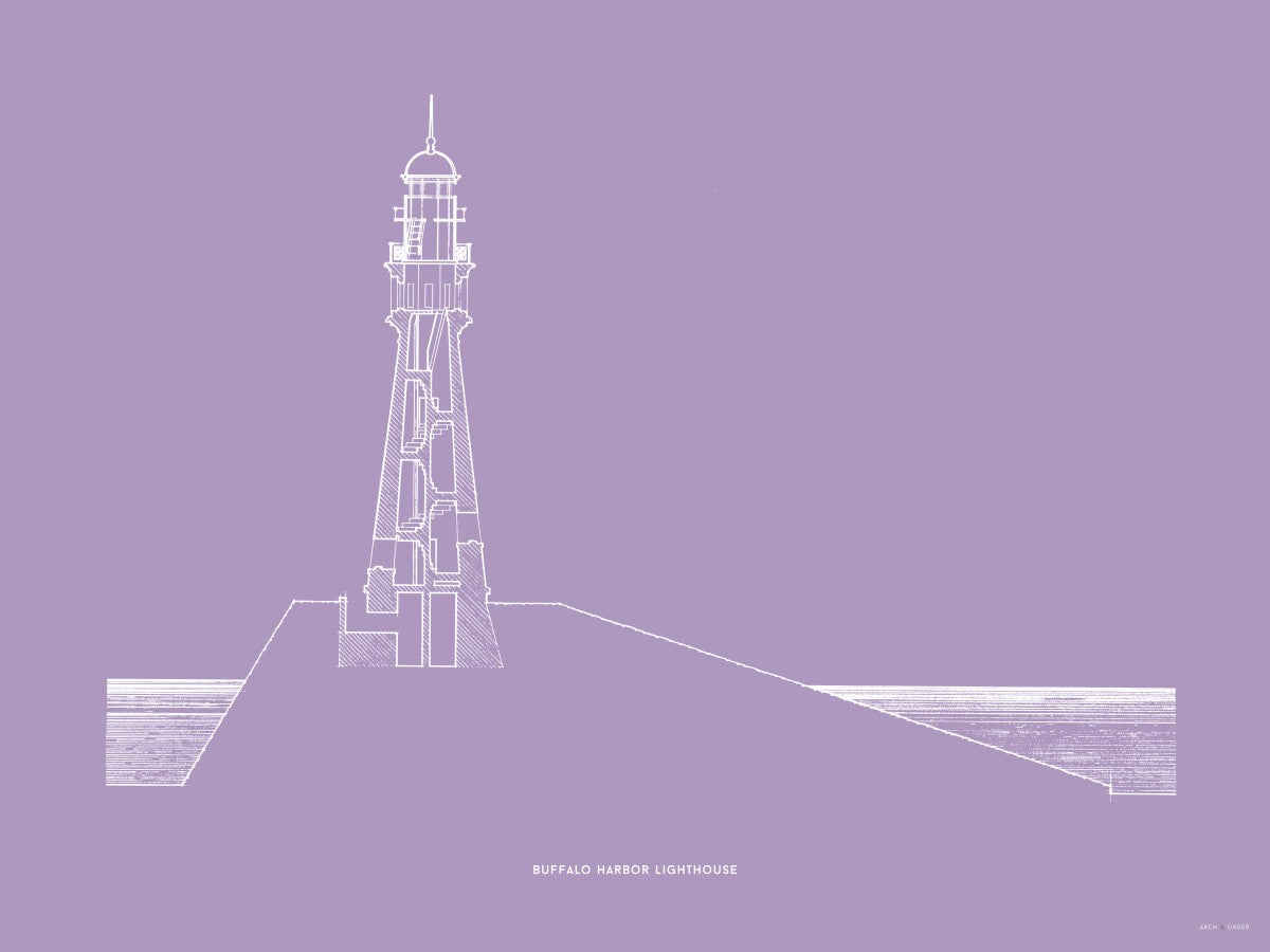 Buffalo Harbor Lighthouse - Cross Section - Lavender -