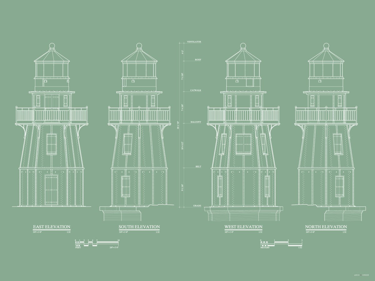 Fort Jefferson - Tortugas Harbor Lighthouse - Elevations - Green -