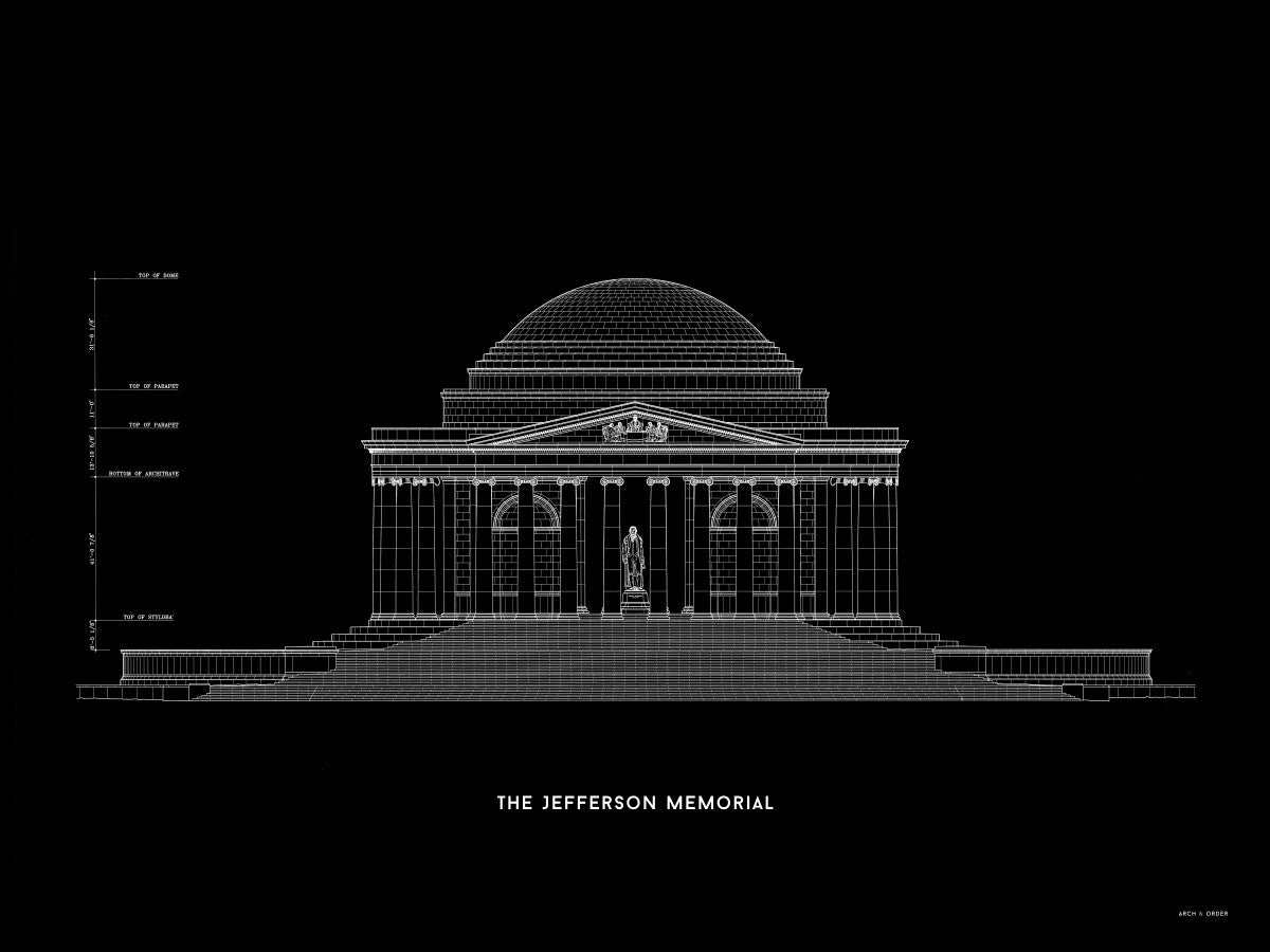 The Jefferson Memorial North Elevation - Black -