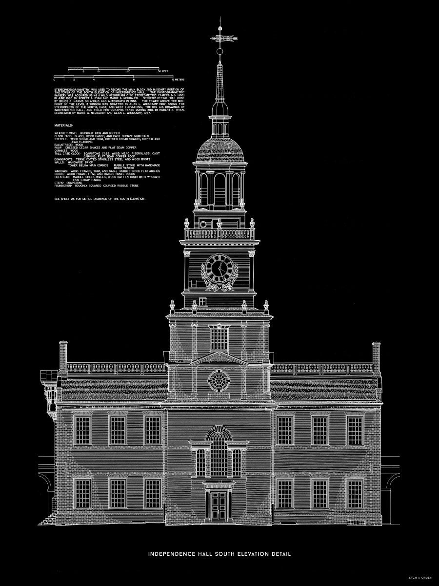 Independence Hall - South Elevation Detail - Black -