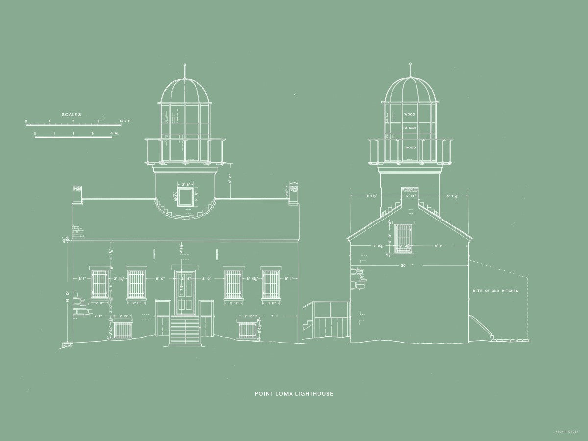 Point Loma Lighthouse - East and North Elevations - Green -