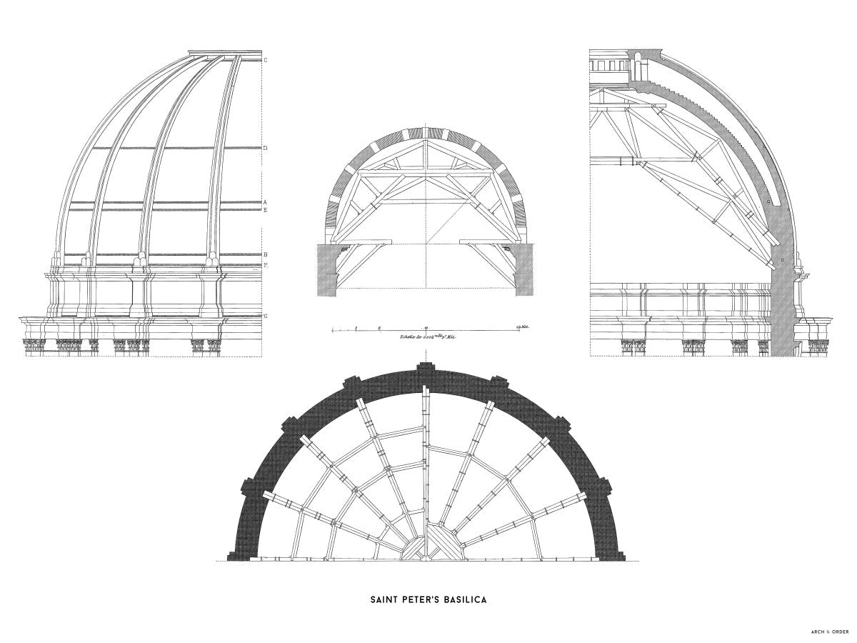 Saint Peter's Basilica - Dome Structure - White -