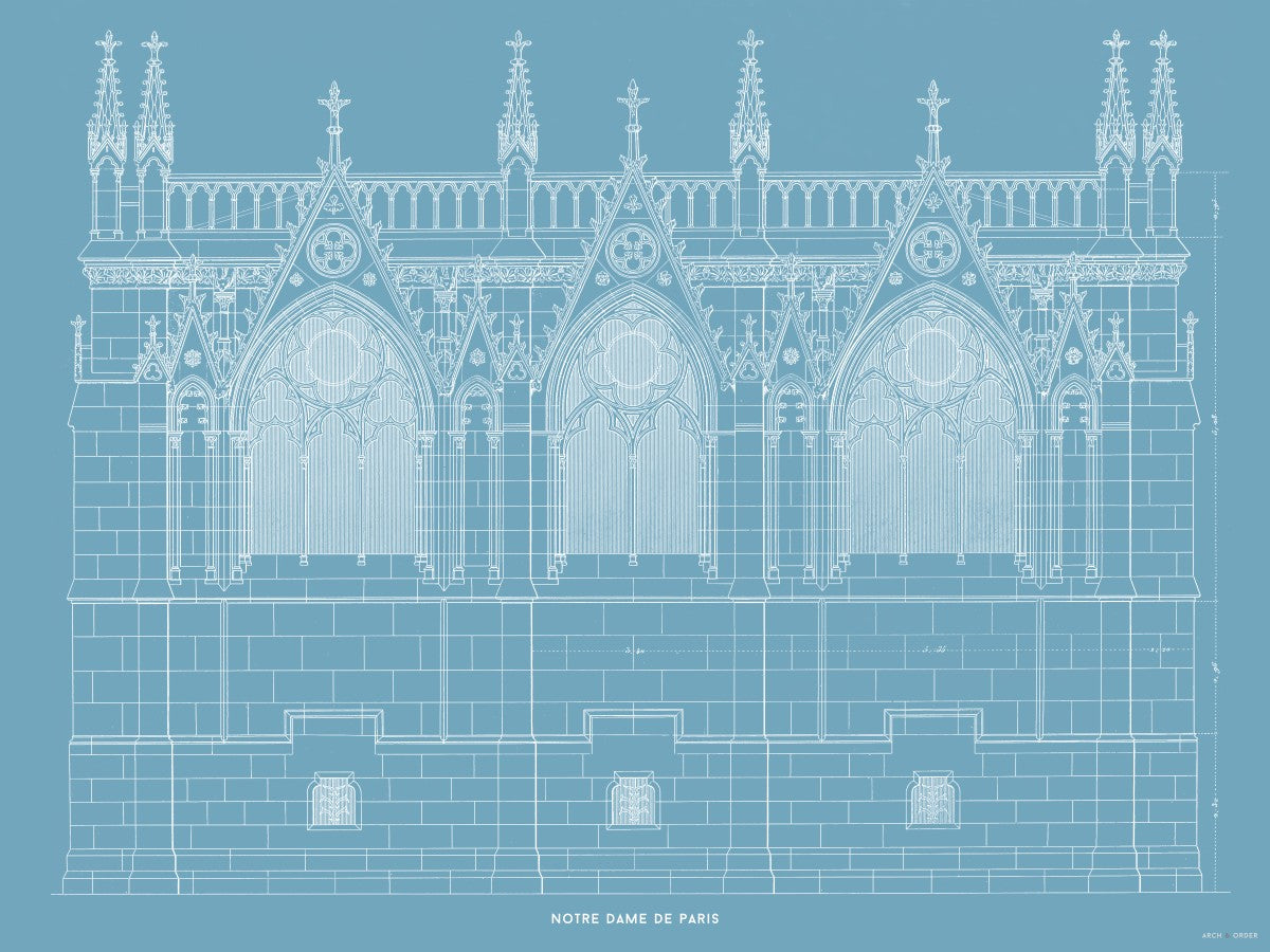 Notre Dame de Paris - Side Elevation - Blue -