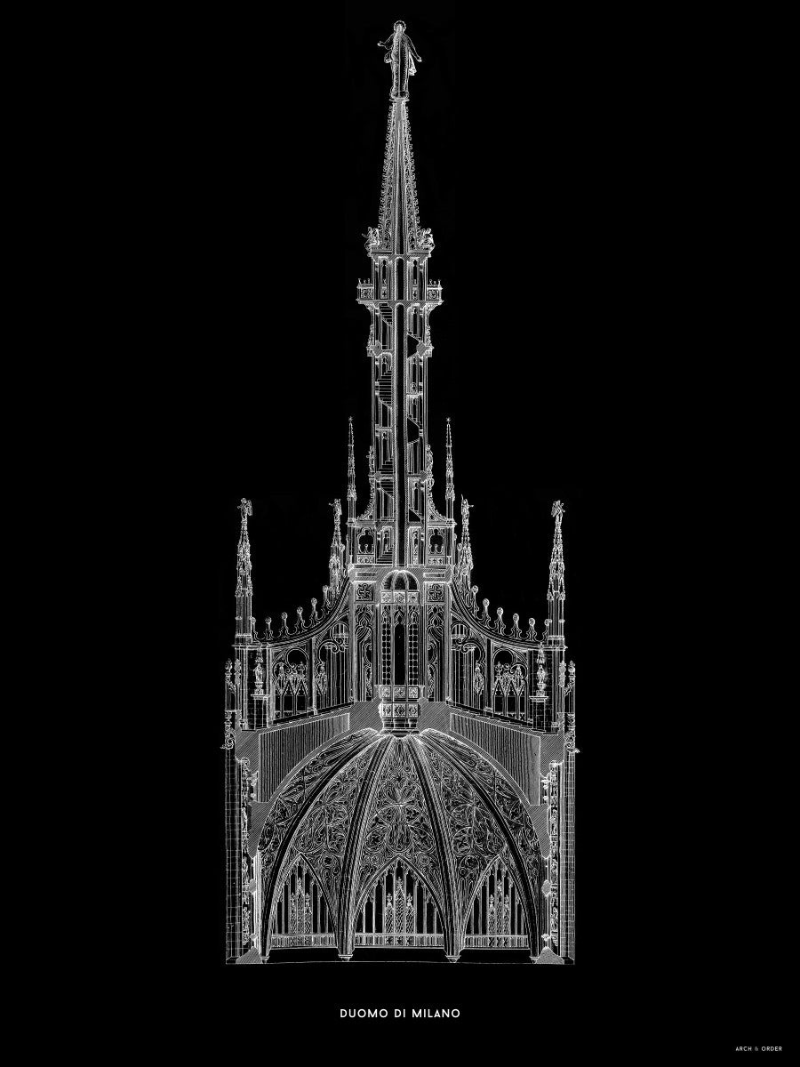 The Milan Cathedral - Detail Cross Section - Black -
