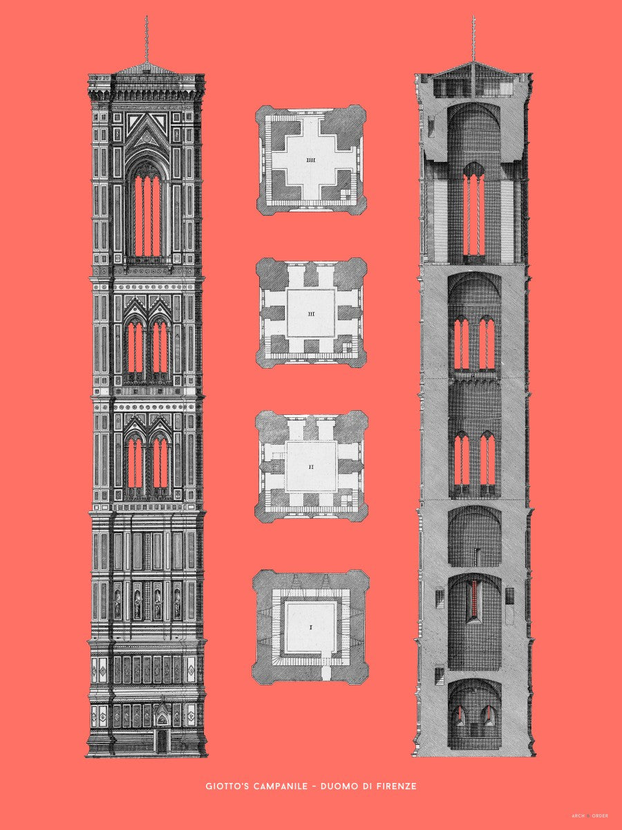 Giotto's Campanile - Cross Section - Red -
