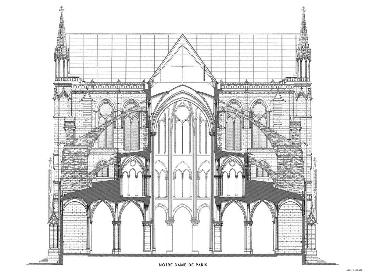 Notre Dame de Paris - Full Cross Section - White -