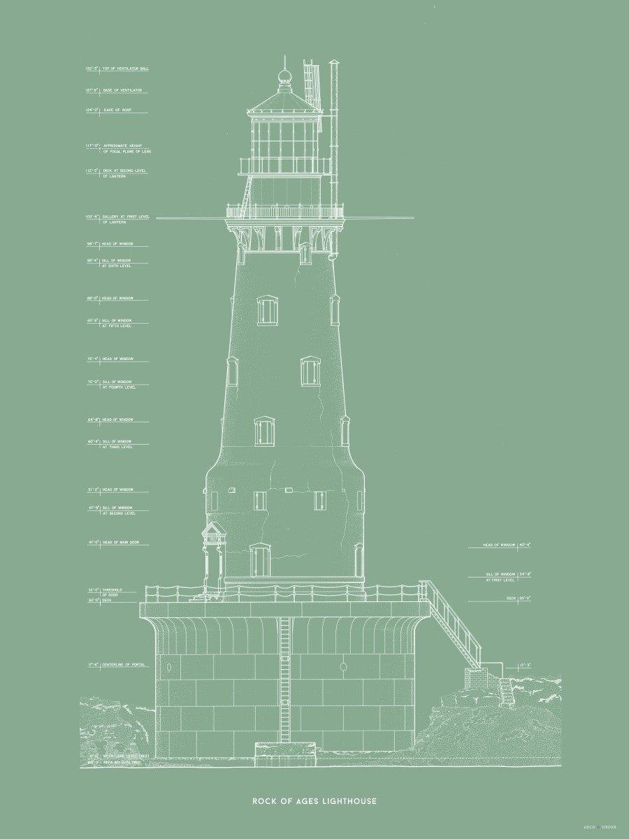 Rock of Ages Lighthouse - Southeast Elevation - Green -