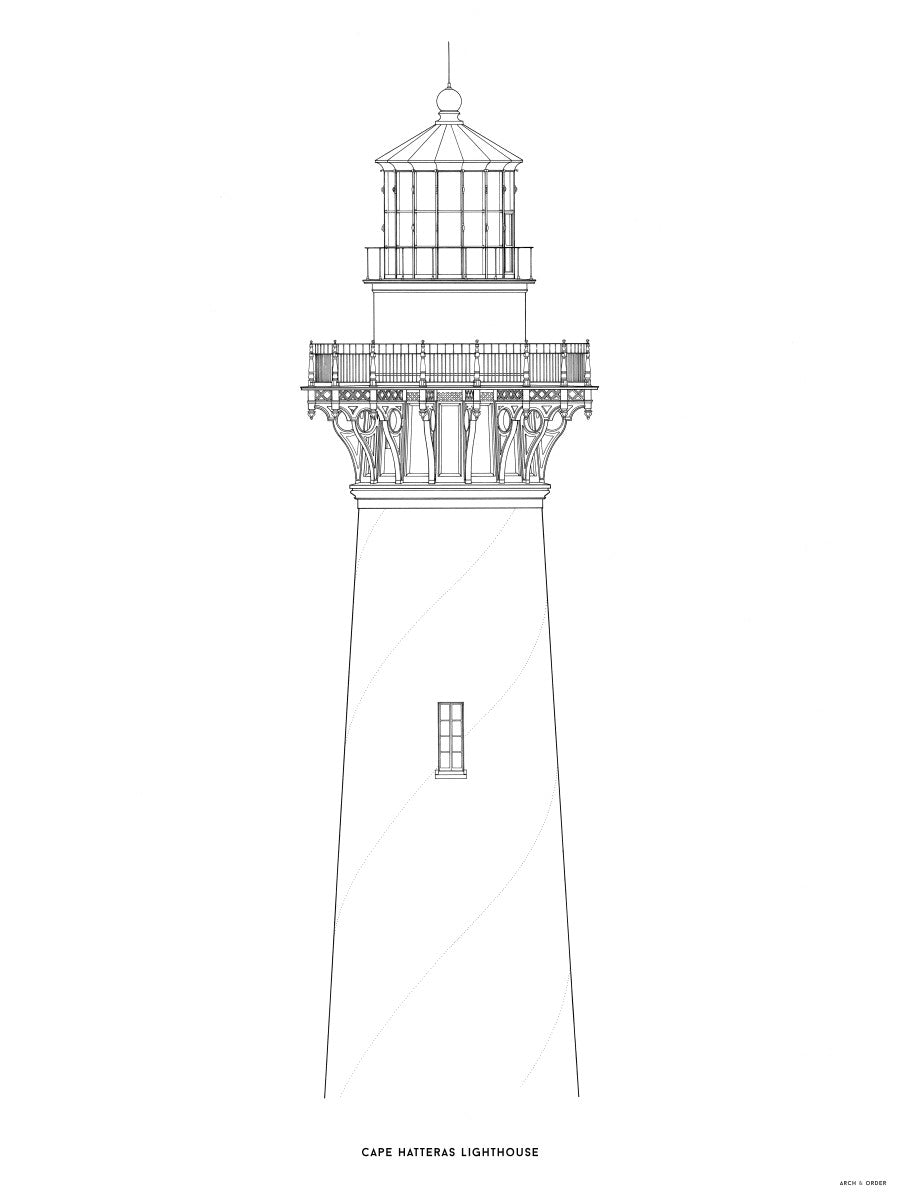 Cape Hatteras Lighthouse - North Elevation Detail - White -