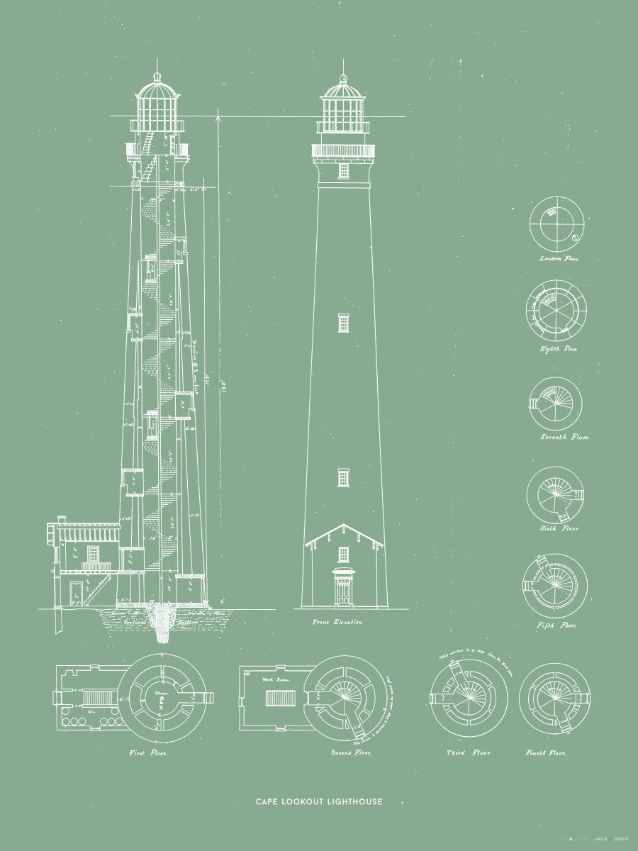 Cape Lookout Lighthouse - Construction Drawings - Green -