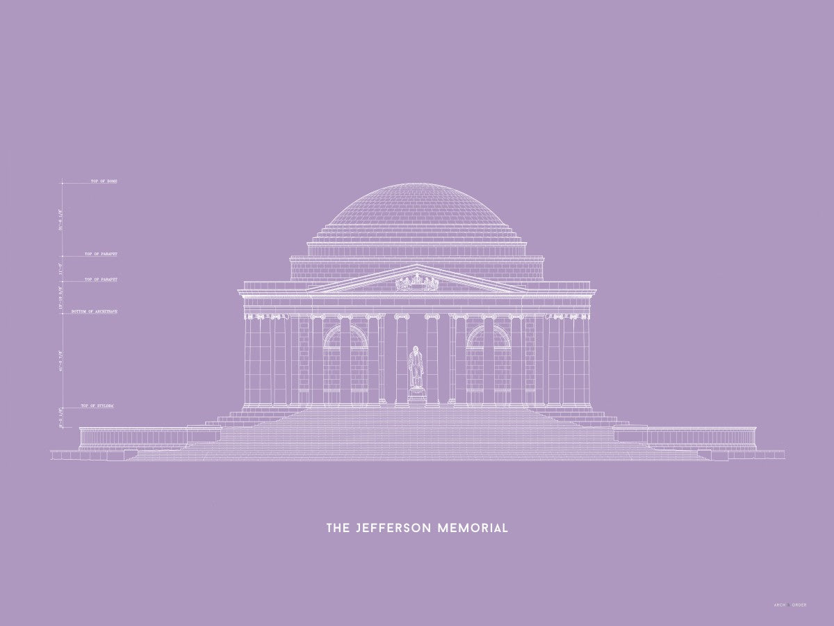 The Jefferson Memorial North Elevation - Lavender -