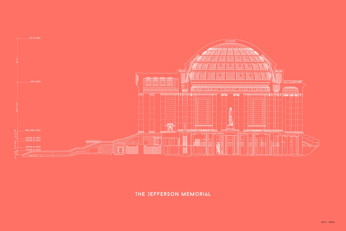 The Jefferson Memorial West Elevation Cross Section - Red -