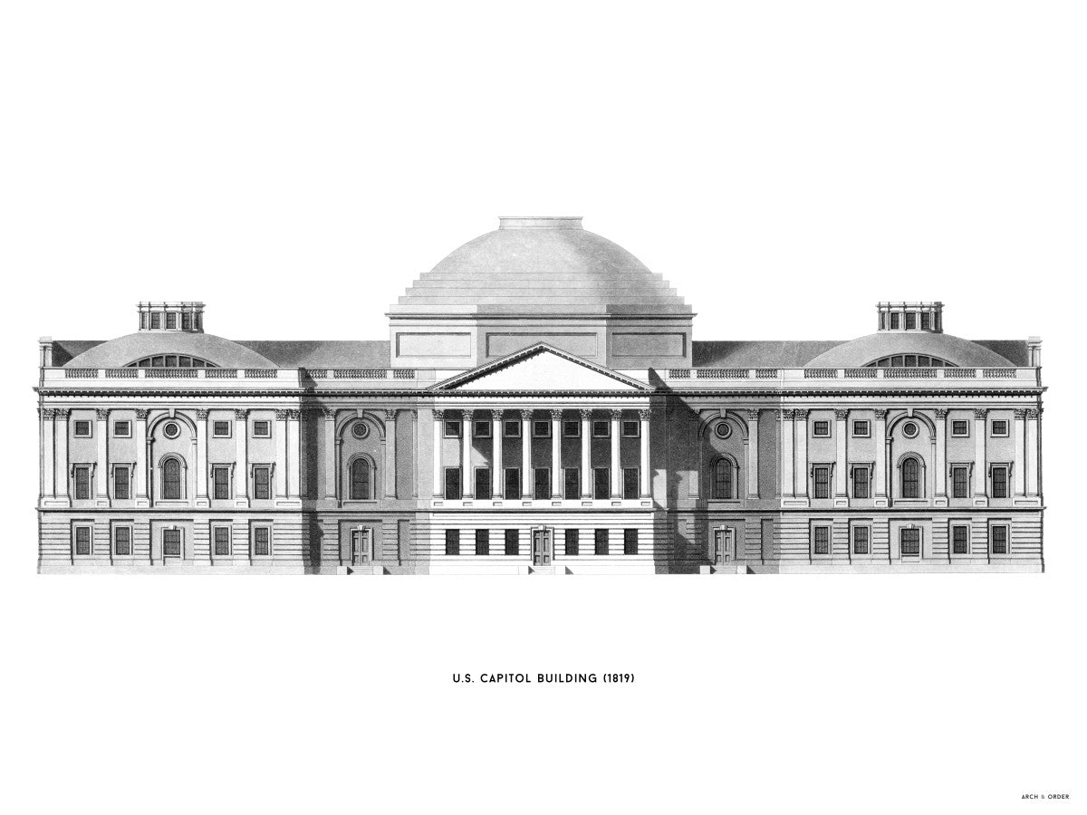 The U.S. Capitol Building - 1823 Elevation - White -