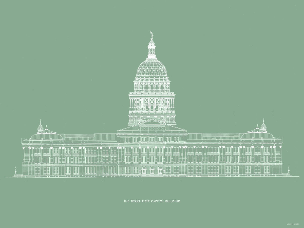 The Texas State Capitol Building - North Elevation - Green -