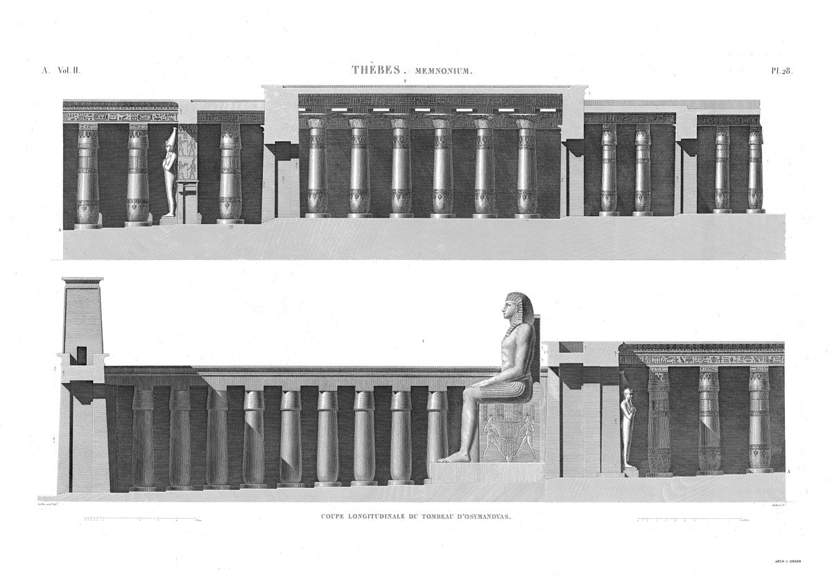 The Tomb of Osymandyas Cross Section 2 - Memnonium - Thebes Egypt -