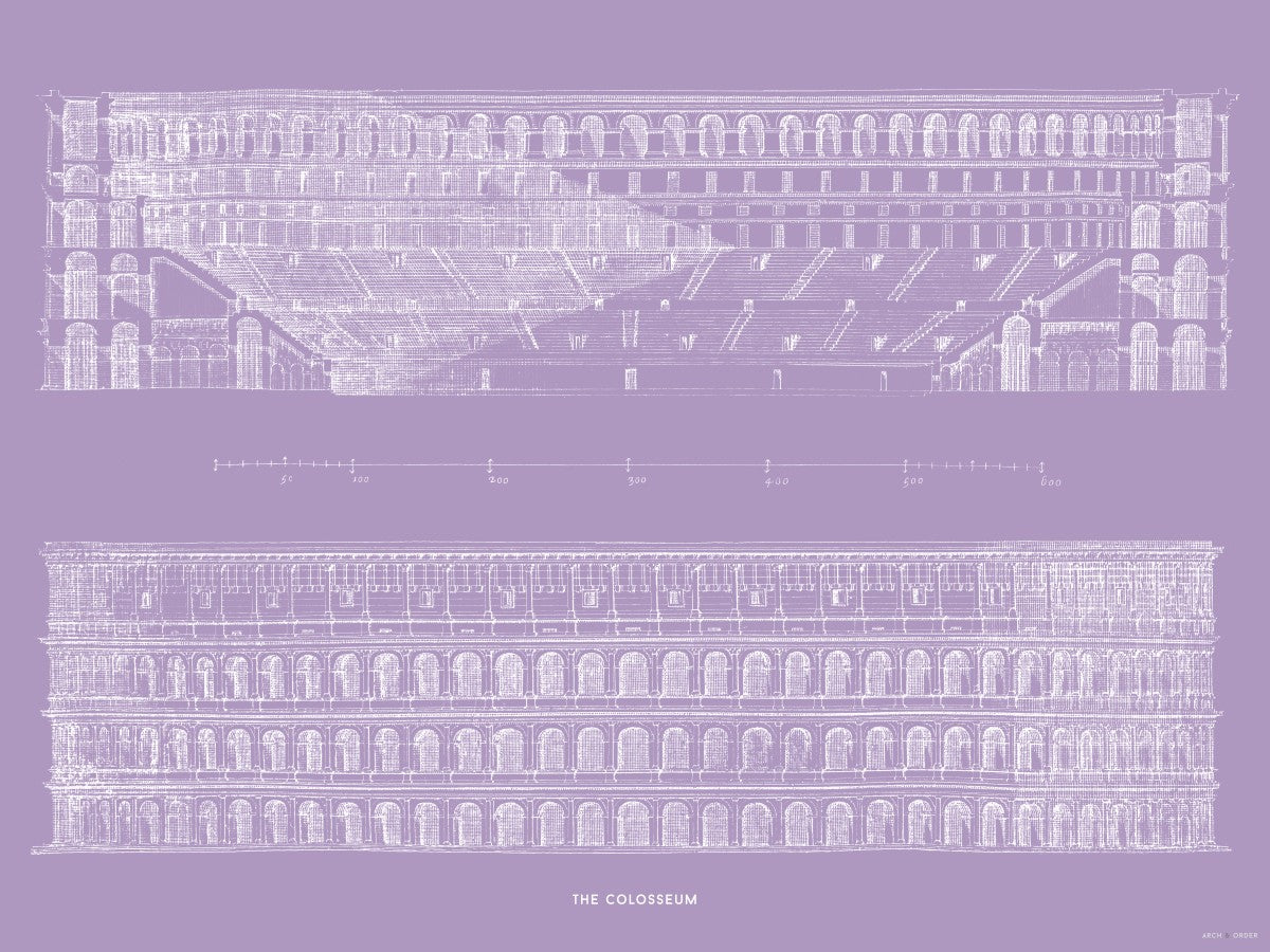 The Colosseum - Primary Elevation and Cross Section - Lavender -