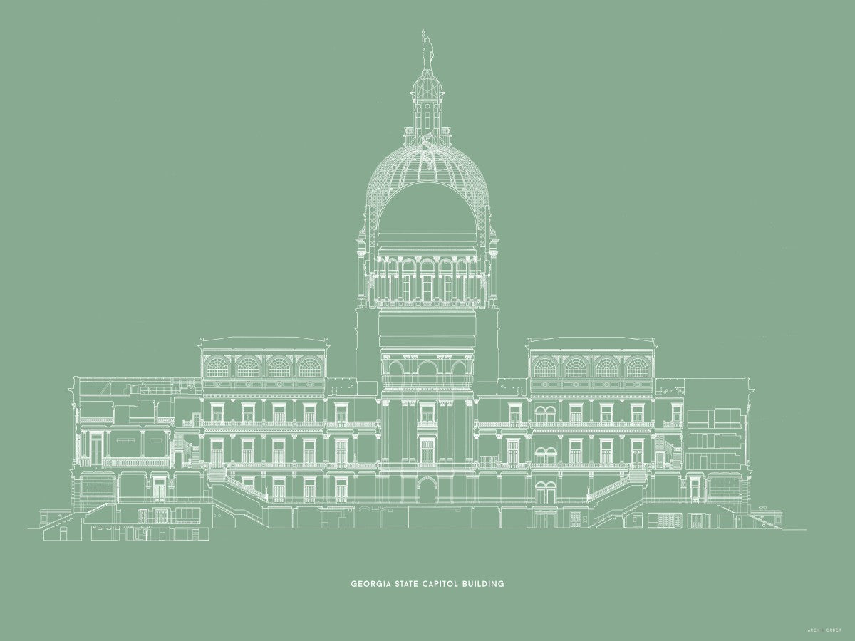 The Georgia State Capitol Building - West Elevation Cross Section - Green -
