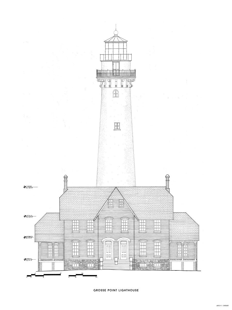 Grosse Point Lighthouse - West Elevation - White -