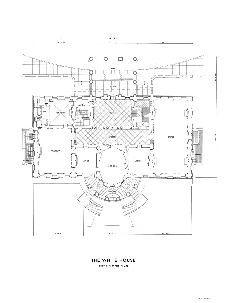 The White House First Floor Plan - White -