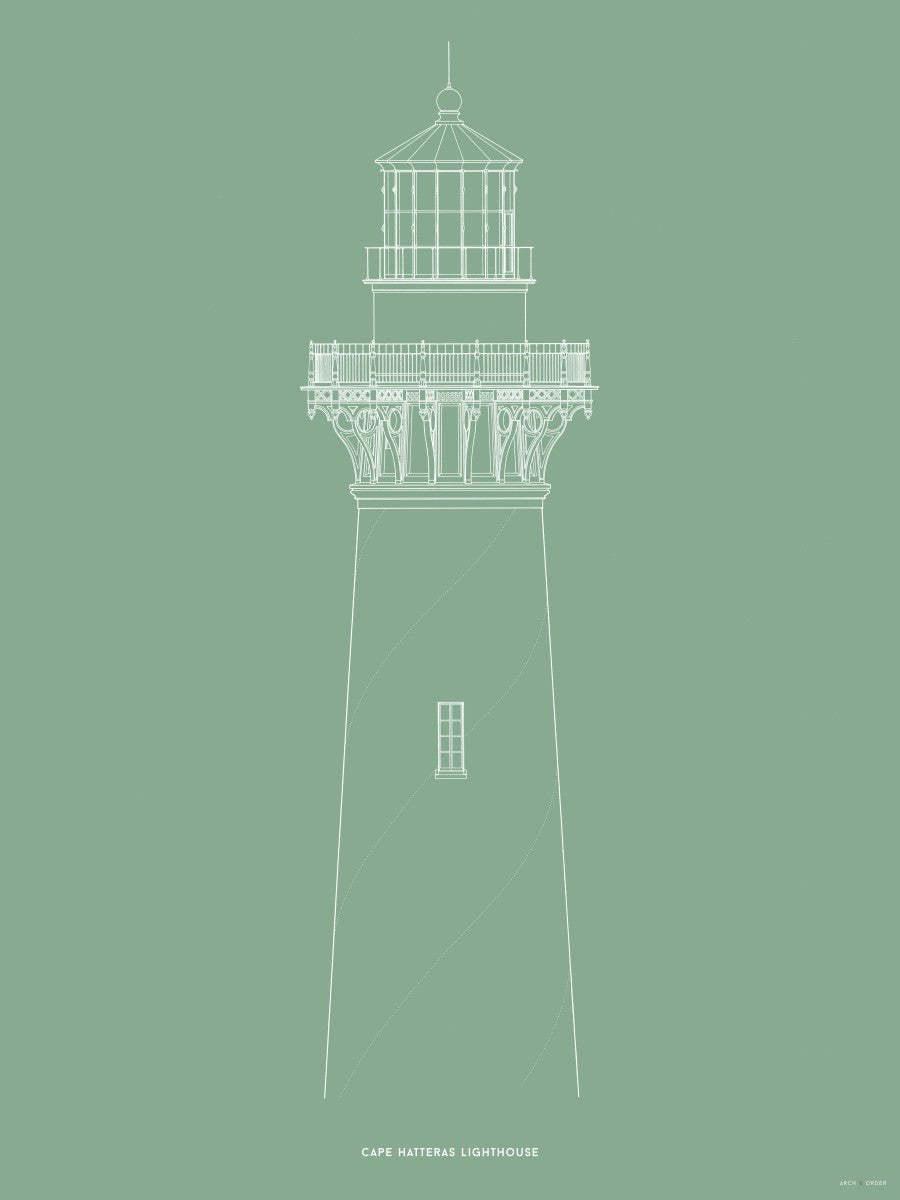 Cape Hatteras Lighthouse - North Elevation Detail - Green -
