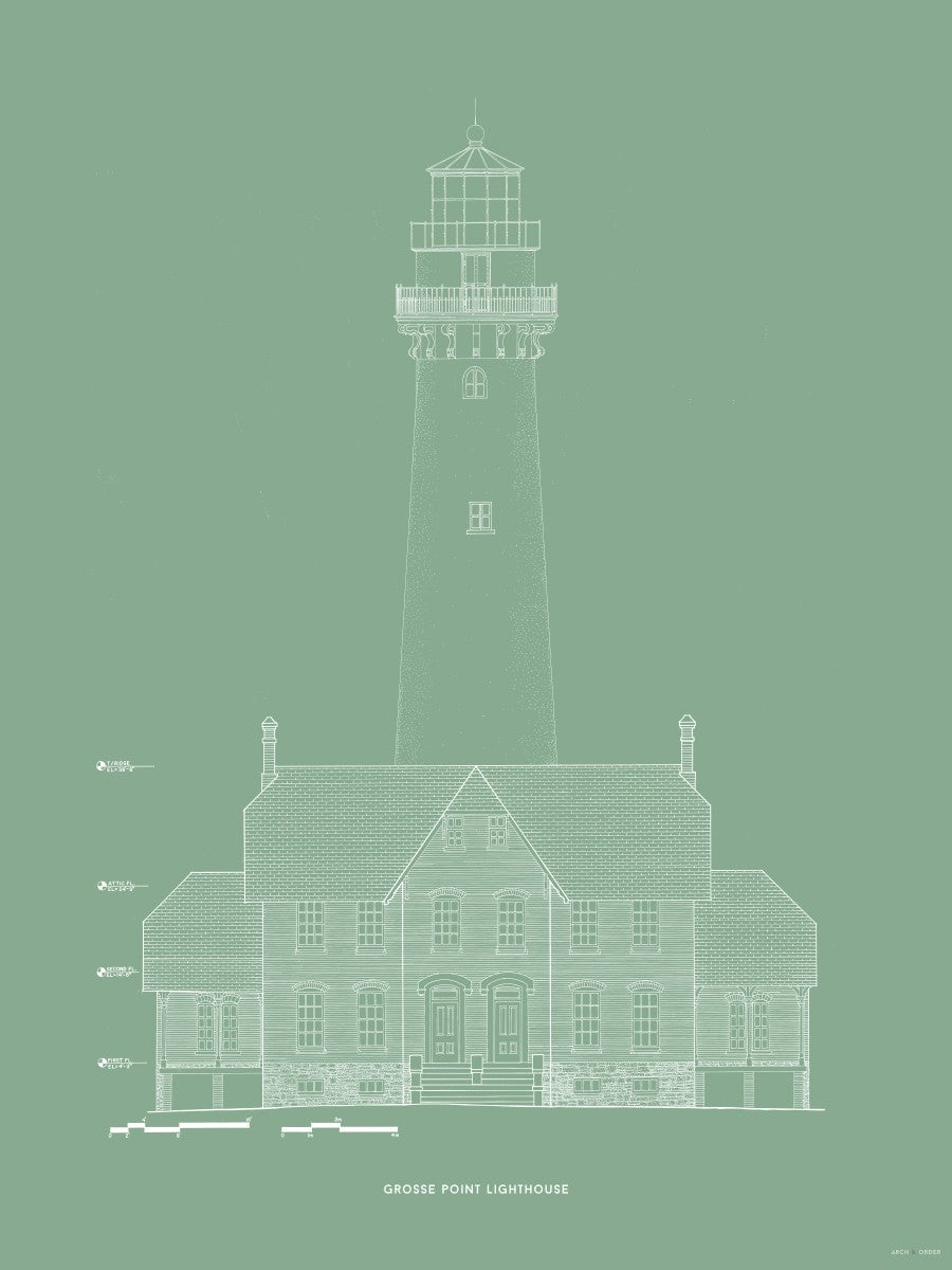 Grosse Point Lighthouse - West Elevation - Green -