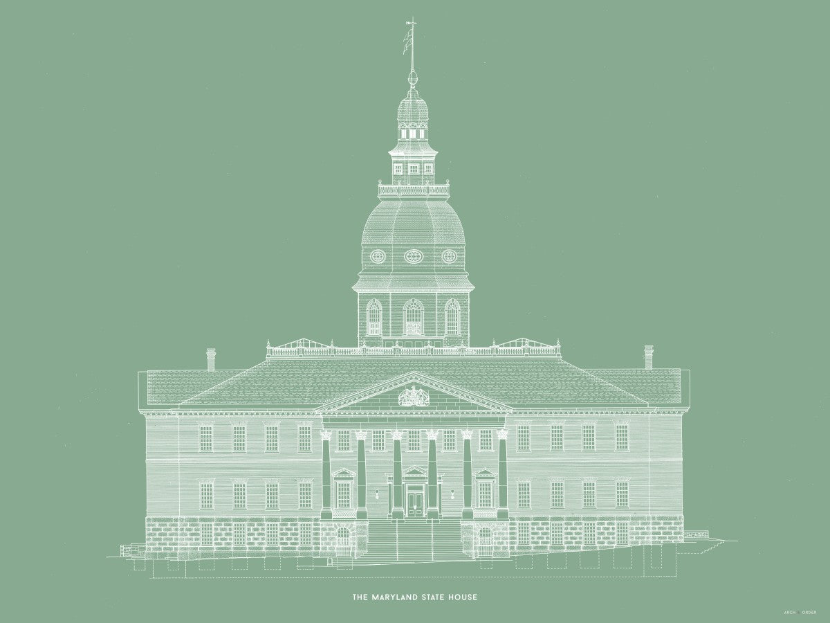The Maryland State House - Northwest Elevation - Green -