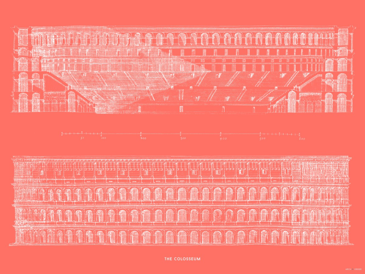 The Colosseum - Primary Elevation and Cross Section - Red -