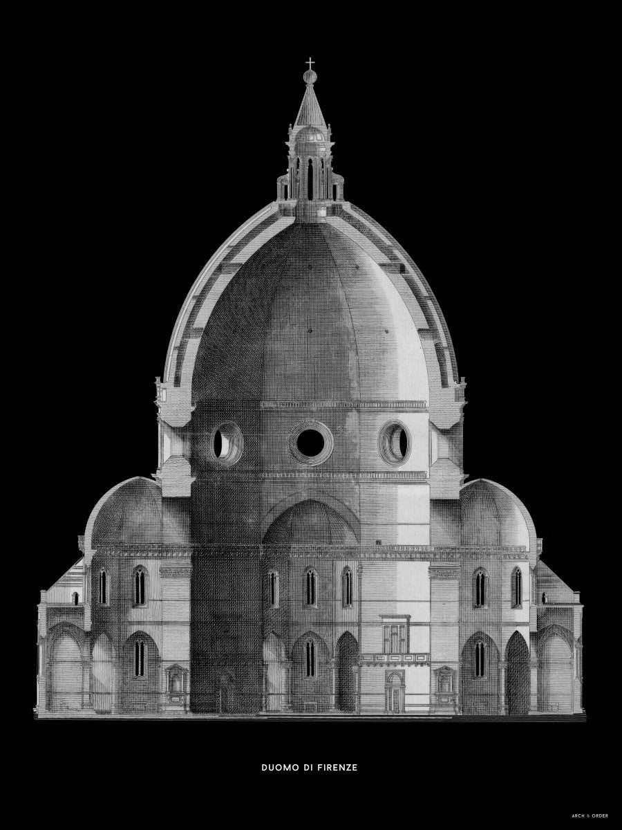Duomo di Firenze - Primary Elevation Cross Section - Black -