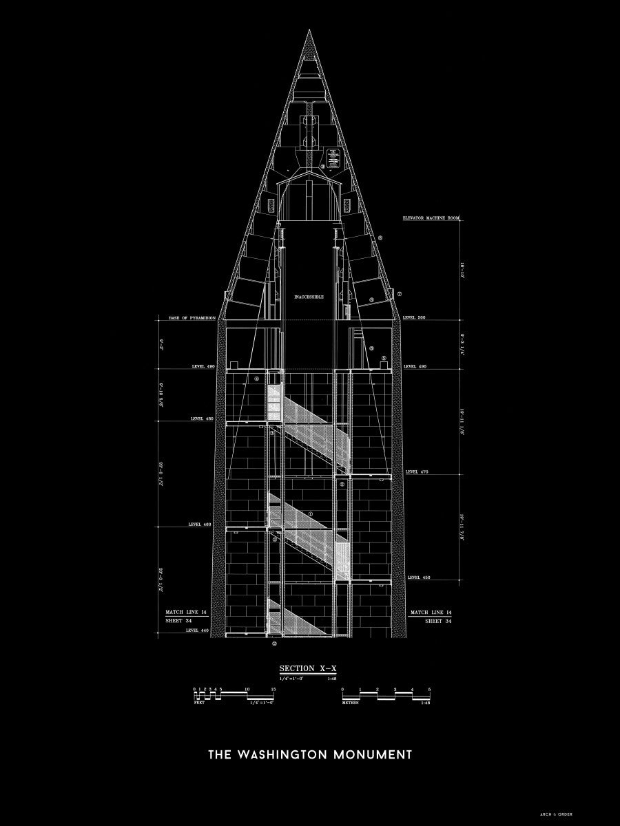 The Washington Monument Top Cross Section - Black -
