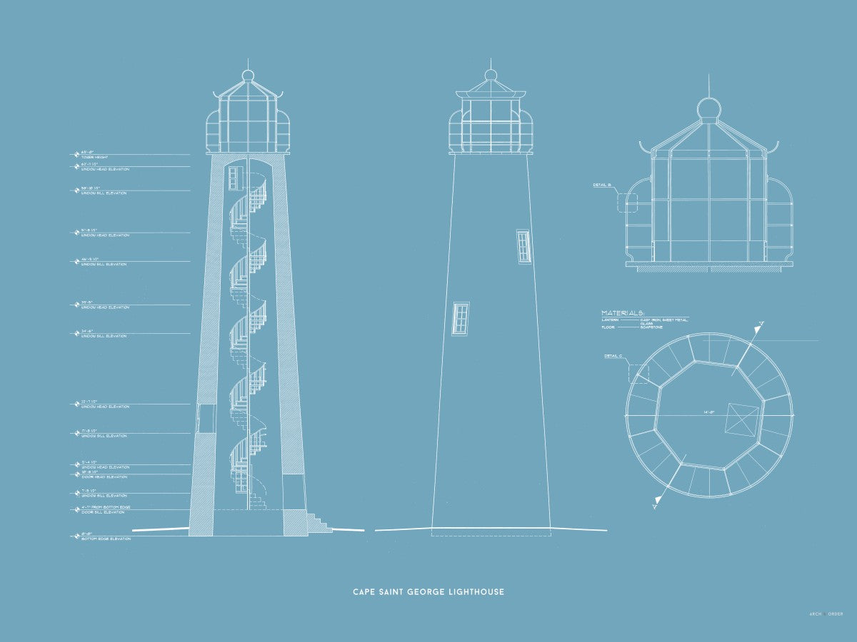 Cape Saint George Lighthouse - Southeast Elevation and Cross Section - Blue -