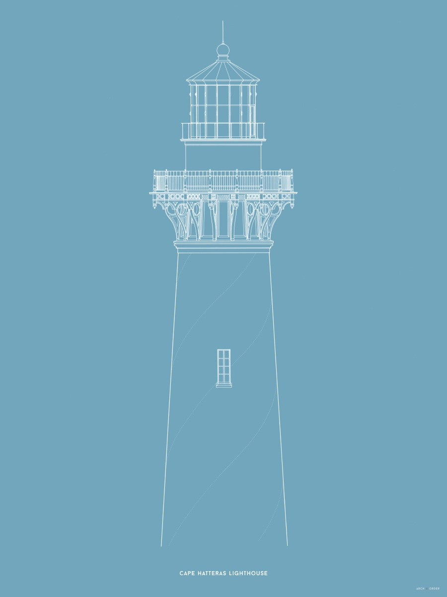 Cape Hatteras Lighthouse - North Elevation Detail - Blue -
