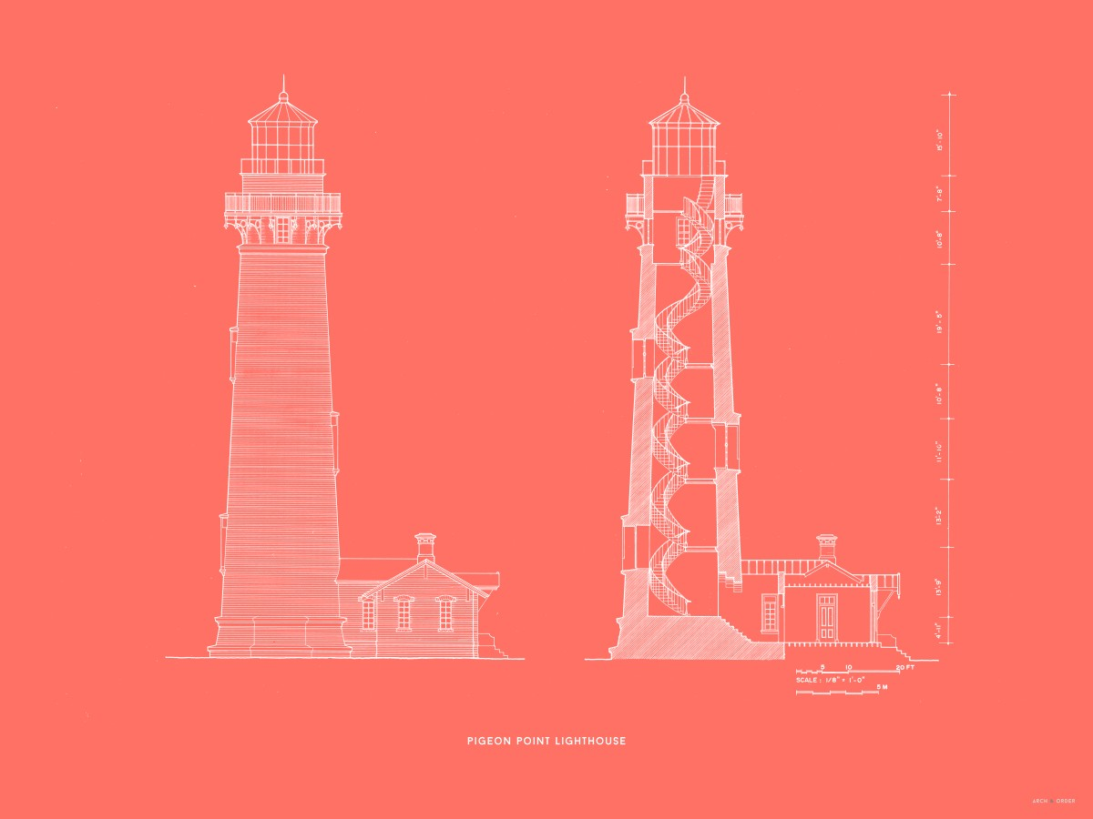Pigeon Point Lighthouse - Southeast Elevation and Cross Section - Red -
