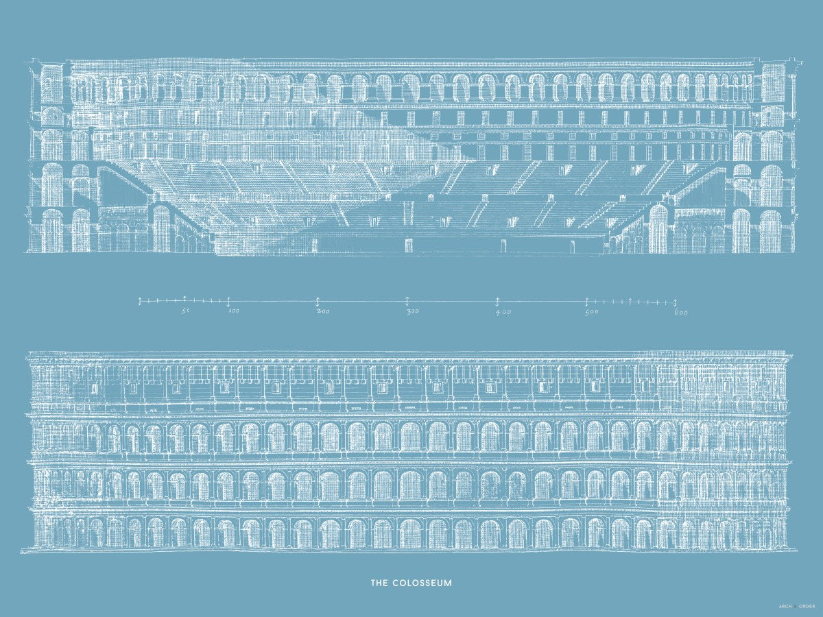 The Colosseum - Primary Elevation and Cross Section - Blue -