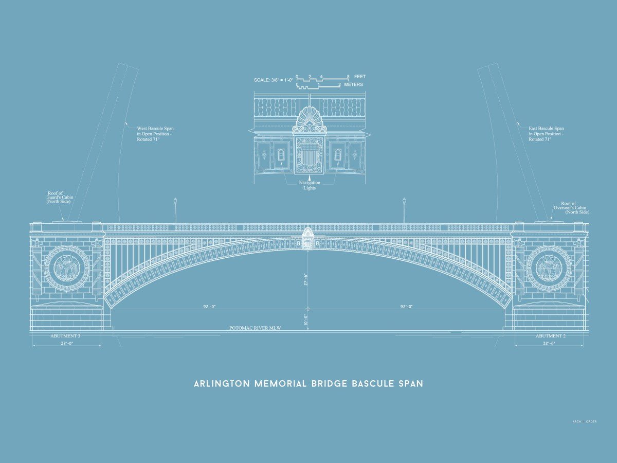 The Arlington Memorial Bridge - Bascule Span - Blue -
